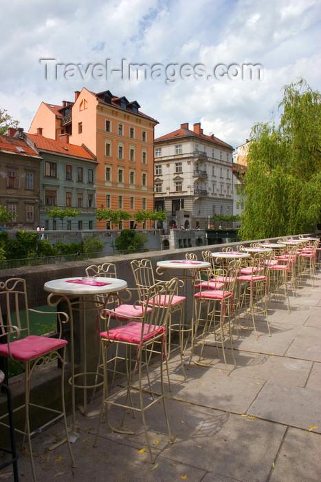 slovenia108: empty tables along the Ljubljanica river, Ljubljana, Slovenia - photo by I.Middleton - (c) Travel-Images.com - Stock Photography agency - Image Bank