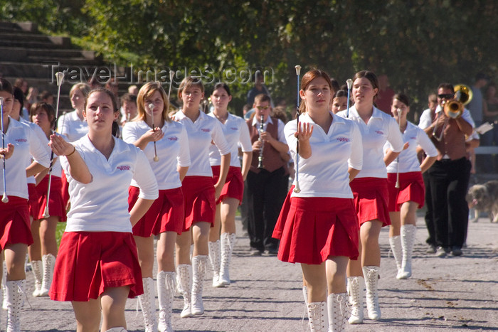 slovenia137: Slovenia - Lipica / Lipizza - Goriska region: Lipica stud farm where the world famous lipizzaner horses are bred - Majorettes group performing in-between shows - cheerleaders - photo by I.Middleton - (c) Travel-Images.com - Stock Photography agency - Image Bank