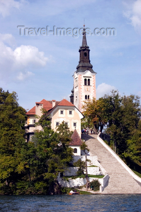slovenia173: Slovenia - arriving at the island church on Lake Bled - photo by I.Middleton - (c) Travel-Images.com - Stock Photography agency - Image Bank