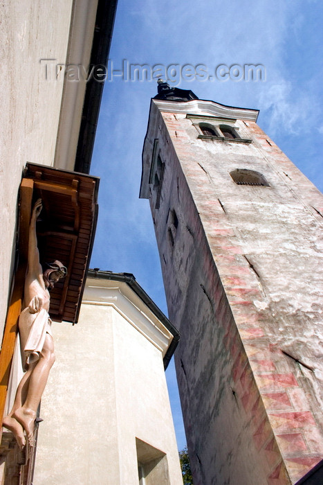 slovenia175: Slovenia - Campanile and Statue of Jesus at the entrance to the island church on Lake Bled - photo by I.Middleton - (c) Travel-Images.com - Stock Photography agency - Image Bank