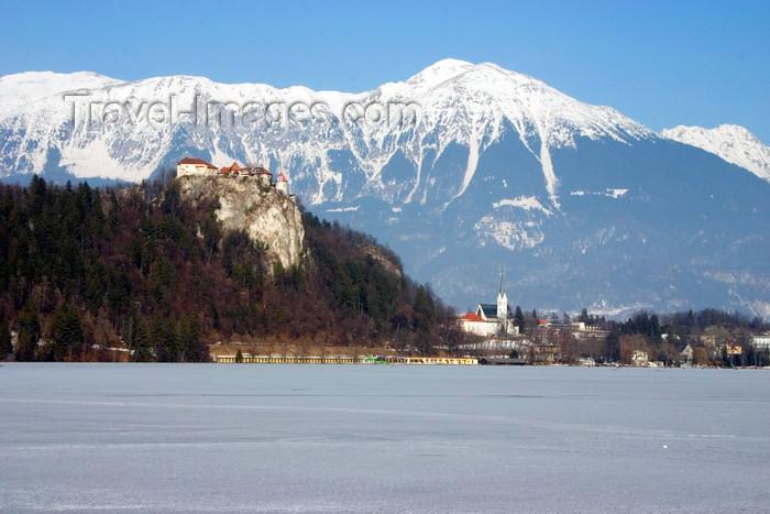 slovenia180: Slovenia - View across Lake Bled when frozen over in winter towards the Karavanke mountain range - Julian Alps - photo by I.Middleton - (c) Travel-Images.com - Stock Photography agency - Image Bank