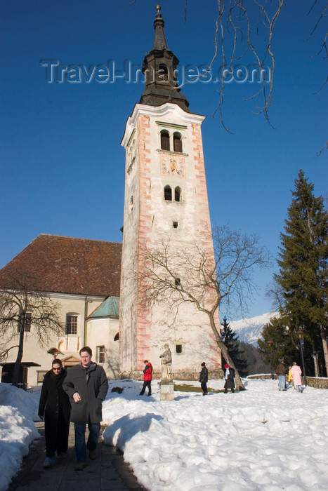 slovenia184: Slovenia - Church of the Assumption on Bled lake in Winter, Slovenia - photo by I.Middleton - (c) Travel-Images.com - Stock Photography agency - Image Bank