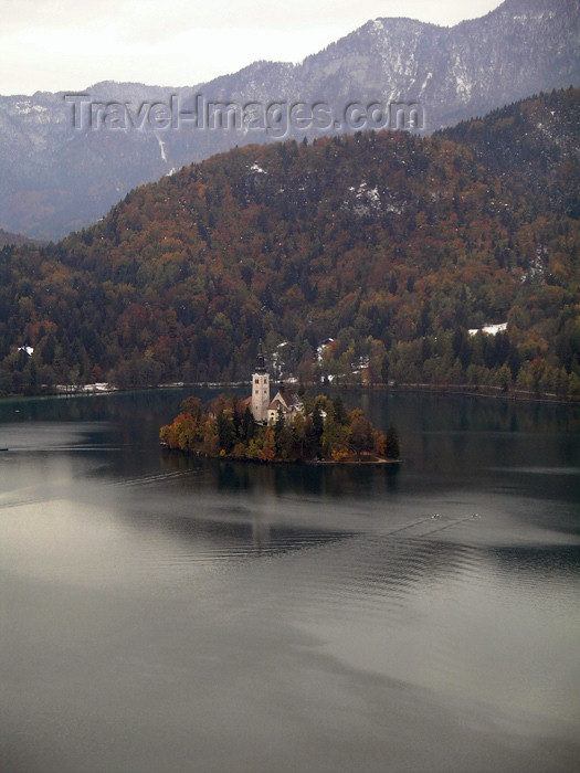slovenia24: Slovenia - Lake Bled / Blejsko jezero / Veldeser See: island church - Assumption of Mary's Pilgrimage Church, a favourite for weddings - Cerkev Marijinega vnebovzetja - glacial lake in the Julian Alps - photo by R.Wallace - (c) Travel-Images.com - Stock Photography agency - Image Bank