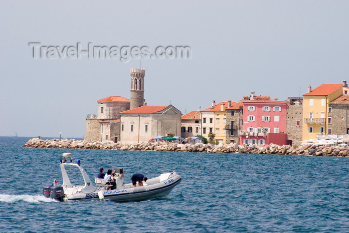 slovenia297: Slovenia - Piran: boat and promenade - seafront, Adriatic coast - photo by I.Middleton - (c) Travel-Images.com - Stock Photography agency - Image Bank