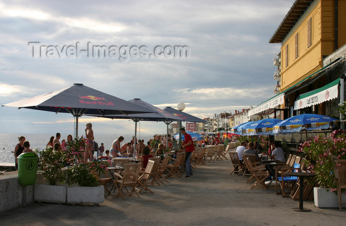 slovenia313: Slovenia - Piran seafront, Adriatic coast - café Teater - photo by I.Middleton - (c) Travel-Images.com - Stock Photography agency - Image Bank