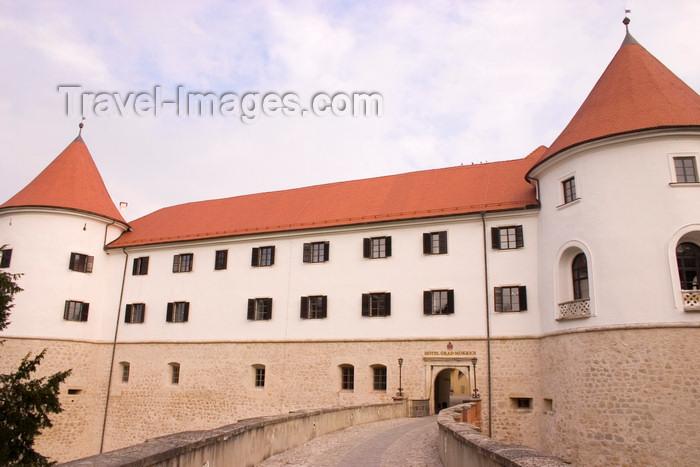 slovenia324: Slovenia - Jesenice na Dolenjskem - lovely castle 10kms south of Brezice,  now a luxury hotel - Golf hotel Grad Mokrice - entrance - photo by I.Middleton - (c) Travel-Images.com - Stock Photography agency - Image Bank