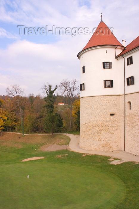 slovenia325: Slovenia - castle 10kms south of Brezice - Golf hotel Grad Mokrice - green - photo by I.Middleton - (c) Travel-Images.com - Stock Photography agency - Image Bank