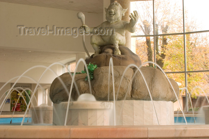 slovenia330: Slovenia - Catez ob Savi: Terme catez - thermal spa - fountain with  statue of Catez - half man half goat - guardian of the sacred springs - photo by I.Middleton - (c) Travel-Images.com - Stock Photography agency - Image Bank