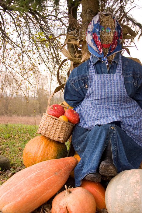 slovenia332: Slovenia - Brezice area: straw statue of old lady selling fruit and veg, often found outside farmhouses to advertise and announce that they sell produce at the farm - photo by I.Middleton - (c) Travel-Images.com - Stock Photography agency - Image Bank