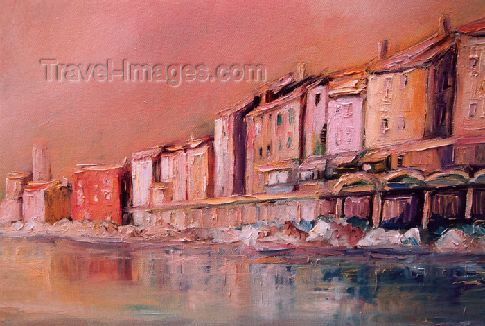 slovenia413: Slovenia - Piran: Presernovo nabrezje and the Adriatic sea - painting - photo by M.Torres - (c) Travel-Images.com - Stock Photography agency - Image Bank