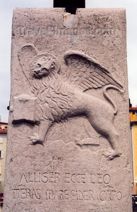 "slovenia415: Slovenia - Piran: Venetian lion on Tartinijev trg with the inscription - ""Alliger Ecce Leo Terras Mare Sidera Carpo"" - Leone Marciano ""Andante"" - 1466 - photo by M.Torres - (c) Travel-Images.com - Stock Photography agency - Image Bank"