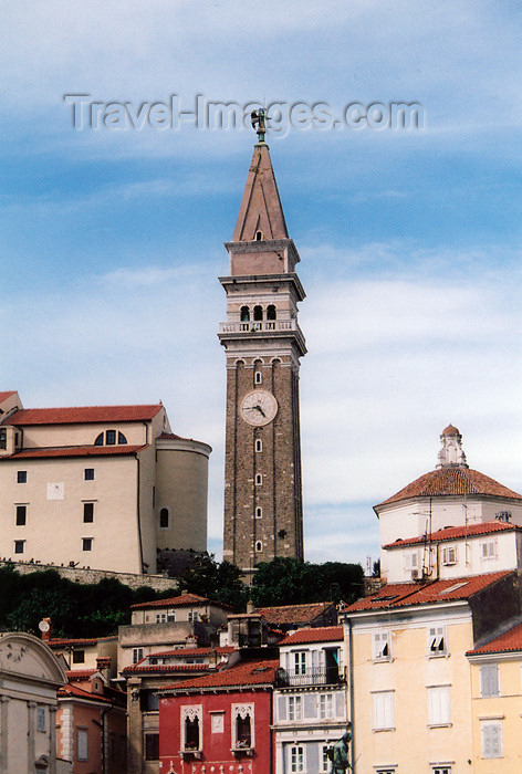 slovenia417: Slovenia - Piran: belfry of St Georges church above Tartini square - photo by M.Torres - (c) Travel-Images.com - Stock Photography agency - Image Bank