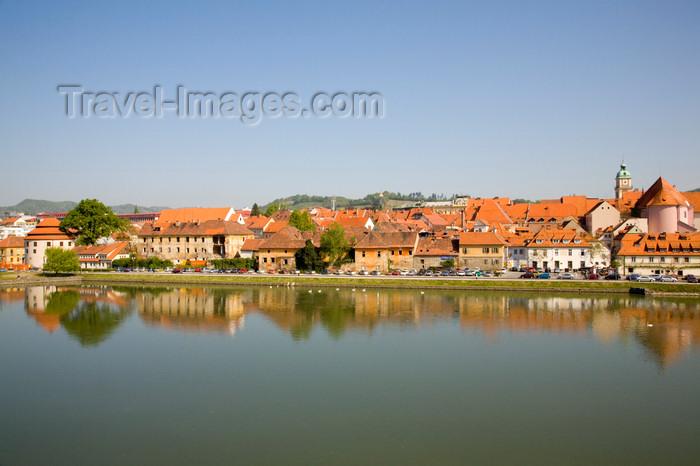 slovenia431: Lent across Drava River - reflection, Maribor , Slovenia   - photo by I.Middleton - (c) Travel-Images.com - Stock Photography agency - Image Bank