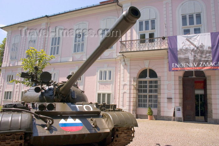 slovenia46: old T-55 tank, formerly used by the Yugoslav People's Army, now in Slovenian colours - outside museum of modern history in Tivoli park, Ljubljana, Slovenia - photo by I.Middleton - (c) Travel-Images.com - Stock Photography agency - Image Bank