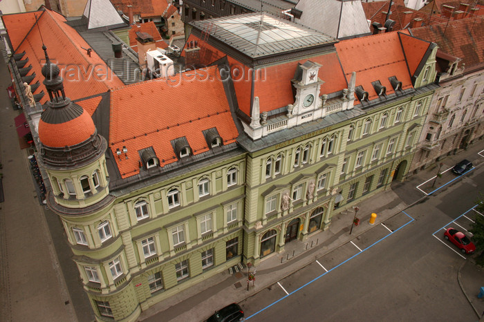 slovenia460: Art Nouveau Facade of the old post office building - view from the bell tower of the Church of Saint John the Baptist, Maribor, Slovenia  - photo by I.Middleton - (c) Travel-Images.com - Stock Photography agency - Image Bank