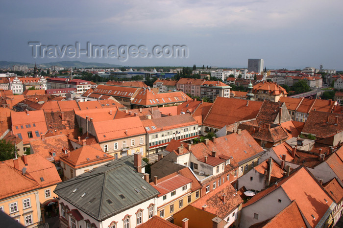 slovenia462: old and new - view from the bell tower of the Church of Saint John the Baptist of the red tiled roodtops of Maribor - photo by I.Middleton - (c) Travel-Images.com - Stock Photography agency - Image Bank