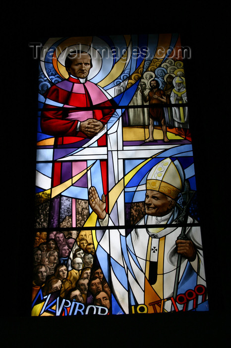 slovenia464: Stained glass window of Pope John Paul II in Maribor, Slovenia . Crafted on the occasion of his second visit to Maribor to beautify the body of Anton Slomskov - Church of Saint John the Baptist in Slomskov Trg - photo by I.Middleton - (c) Travel-Images.com - Stock Photography agency - Image Bank