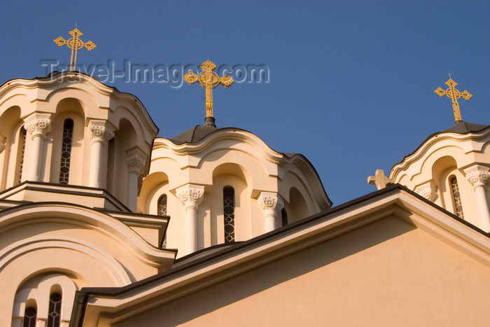 slovenia50: three gilded crosses on top of domed towers - Serbian Orthodox church of SS. Cyril and Methodius, Ljubljana , Slovenia - photo by I.Middleton - (c) Travel-Images.com - Stock Photography agency - Image Bank