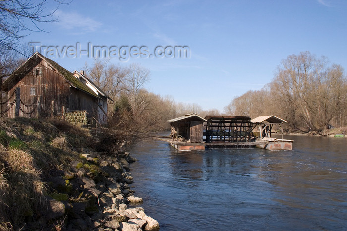 slovenia506: Veržej, the floating Babicev mill in the Mura river, Prekmurje, the easternmost region of Slovenia on the border with Hungary - Slovenia - photo by I.Middleton - (c) Travel-Images.com - Stock Photography agency - Image Bank