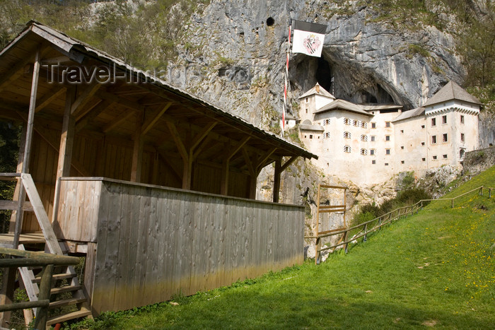 slovenia524: Predjama castle - seating for the medieval tournament, Slovenia - photo by I.Middleton - (c) Travel-Images.com - Stock Photography agency - Image Bank