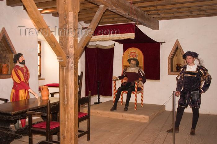 slovenia532: Predjama Castle - knight Erazem in his throne room - Erazem Jamski a robber knight of the 15th century - Slovenia  - photo by I.Middleton - (c) Travel-Images.com - Stock Photography agency - Image Bank