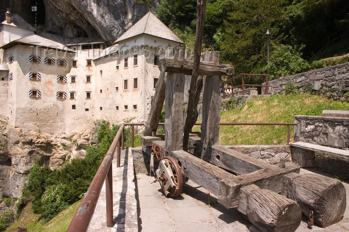 slovenia535: Predjama Castle - catapult, Slovenia- photo by I.Middleton - (c) Travel-Images.com - Stock Photography agency - Image Bank