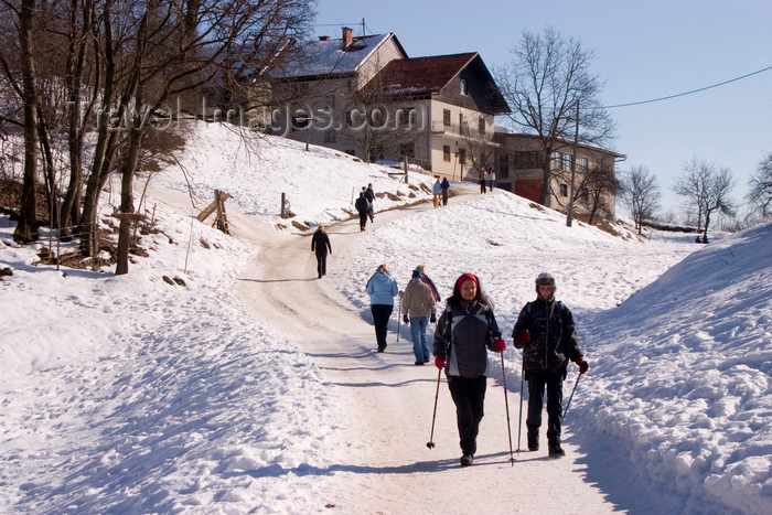 slovenia67: hikers on a sunny winter day - Smarna Gora mountain on the outskirts of Ljubljana, Slovenia - photo by I.Middleton - (c) Travel-Images.com - Stock Photography agency - Image Bank