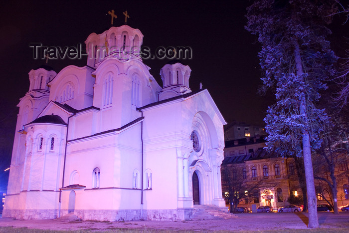 slovenia69: Serbian Orthodox church of Saints Cyril and Methodius, near Tivoli Park - nocturnal, Ljubljana - photo by I.Middleton - (c) Travel-Images.com - Stock Photography agency - Image Bank