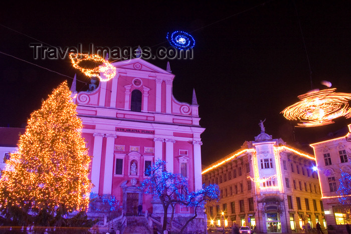 slovenia71: Preseren Square, the city centre, lit up at night for Christmas, Ljubljana, Slovenia  - photo by I.Middleton - (c) Travel-Images.com - Stock Photography agency - Image Bank