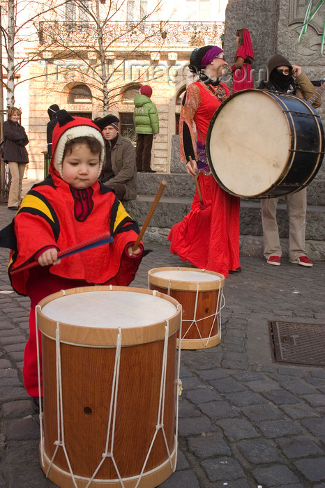 slovenia717: Slovenia - Ljubliana: Pust celebrations - drummers of all sizes - photo by I.Middleton - (c) Travel-Images.com - Stock Photography agency - Image Bank