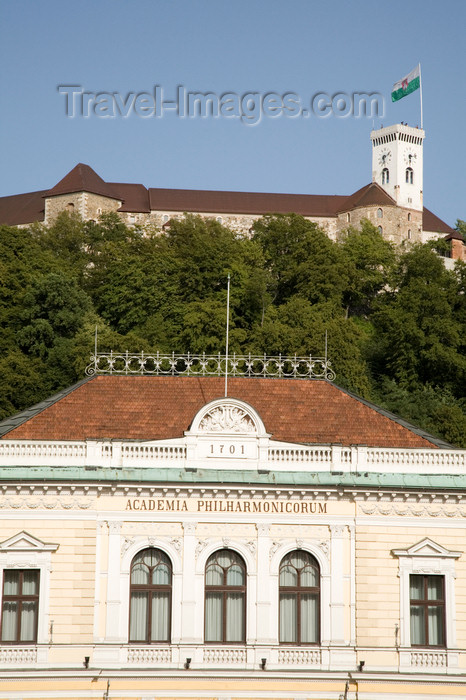 slovenia730: Slovenia - Ljubliana: top floor of the Philharmonic Academy with Ljubljana castle in background - photo by I.Middleton - (c) Travel-Images.com - Stock Photography agency - Image Bank