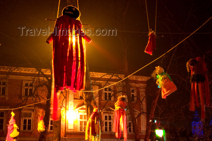 slovenia75: suspended Christmas dolls in the city centre of Ljubljana, Slovenia - photo by I.Middleton - (c) Travel-Images.com - Stock Photography agency - Image Bank