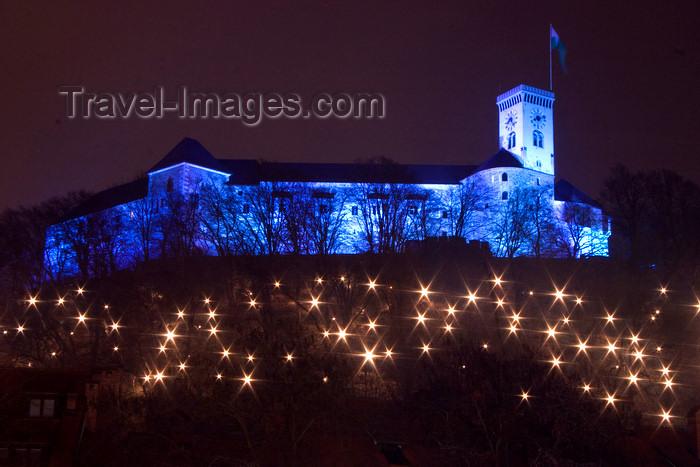 slovenia76: Festively illuminated Castle Hill - Christmas - Ljubljanski grad, Ljubljana , Slovenia - photo by I.Middleton - (c) Travel-Images.com - Stock Photography agency - Image Bank