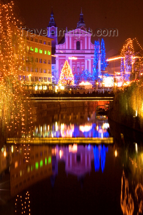 slovenia78: river Ljubljanica and the Franciscan church at night - Christmas lights, Ljubljana , Slovenia - photo by I.Middleton - (c) Travel-Images.com - Stock Photography agency - Image Bank