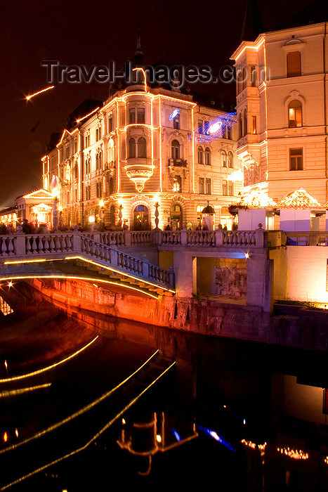 slovenia81: buildings in the city centre lit up at night for Christmas, Ljubljana, Slovenia - photo by I.Middleton - (c) Travel-Images.com - Stock Photography agency - Image Bank