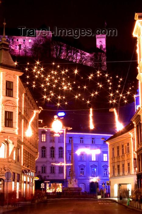 slovenia82: The Castle and the city center - Christmas lights, Ljubljana, Slovenia - photo by I.Middleton - (c) Travel-Images.com - Stock Photography agency - Image Bank