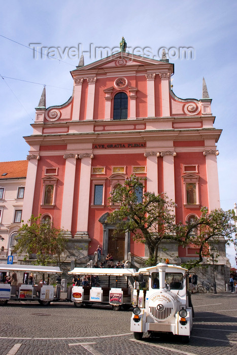 slovenia86: Franciscan church of the Annunciation and tourist train, Ljubljana, Slovenia - photo by I.Middleton - (c) Travel-Images.com - Stock Photography agency - Image Bank