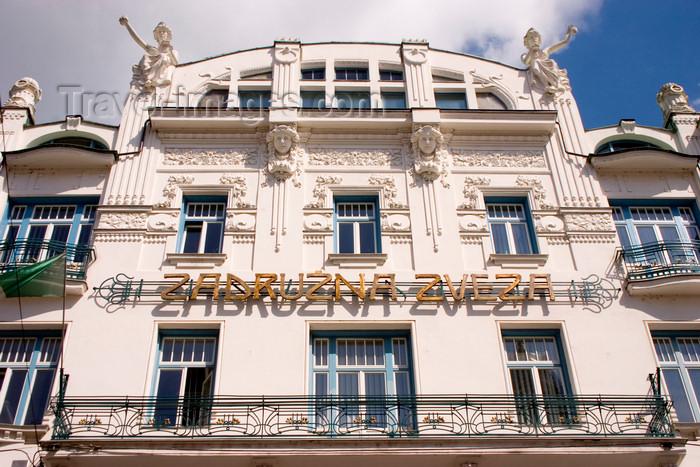 slovenia95: art deco - facade of the Zadruzna Zveza building - Cooperative Union of Slovenia - architect Emil Medvescek - Miklosiceva Cesta, Ljubljana, Slovenia - photo by I.Middleton - (c) Travel-Images.com - Stock Photography agency - Image Bank