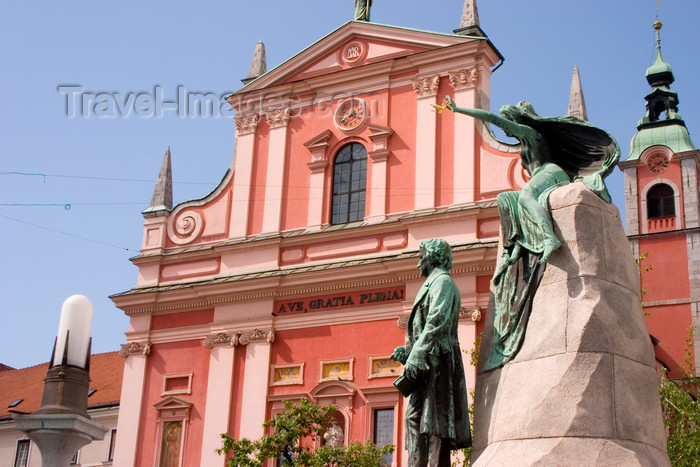 slovenia98: Franciscan church of the Annunciation and Preseren monument, Ljubljana, Slovenia - photo by I.Middleton - (c) Travel-Images.com - Stock Photography agency - Image Bank