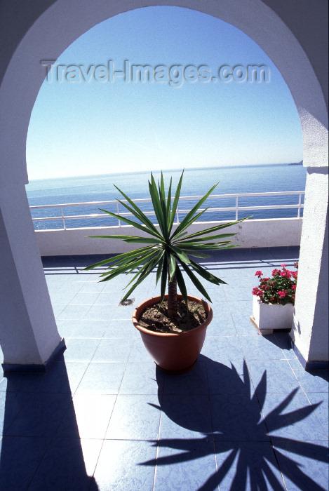 spai426: Spain / España - Salobreña, Granada, Andalucia: balcony over the Mediterranean Sea - flower pot - photo by F.Rigaud - (c) Travel-Images.com - Stock Photography agency - Image Bank