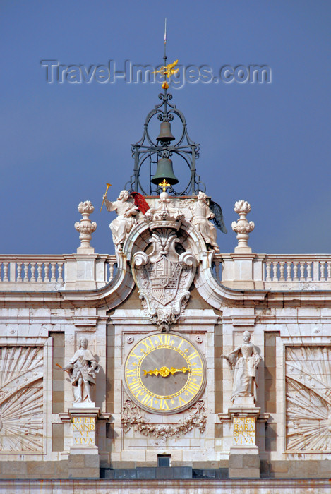 spai445: Spain / España - Madrid: Royal Palace / Palacio Real - clock, bells and coat of arms - south façade - photo by M.Torres - (c) Travel-Images.com - Stock Photography agency - Image Bank