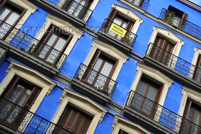 spai467: Madrid, Spain: deep blue façade of Calle Mayor 14 - Hostal Rodriguez - photo by M.Torres - (c) Travel-Images.com - Stock Photography agency - Image Bank