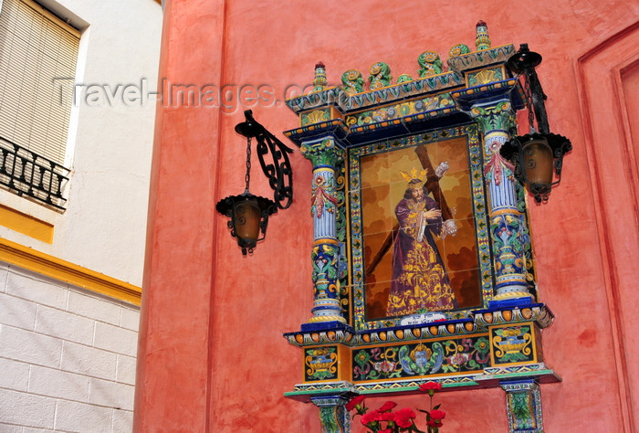 spai474: Ayamonte, Huelva, Andalucia, Spain: Jesus in a small shrine made of ceramic and tiles - photo by M.Torres - (c) Travel-Images.com - Stock Photography agency - Image Bank