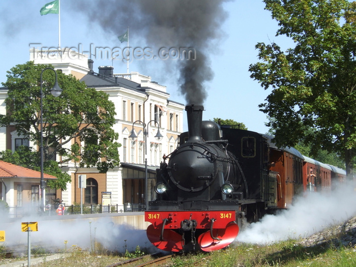 sweden102: Vastervik, Kalmar län, Sweden: Steam Train - smoke and steam by the station - photo by A.Bartel - (c) Travel-Images.com - Stock Photography agency - Image Bank