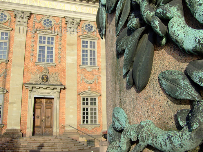 sweden119: Stockholm, Sweden: Riddarhuset and base of statue of Gustav II Adolph - photo by M.Bergsma - (c) Travel-Images.com - Stock Photography agency - Image Bank