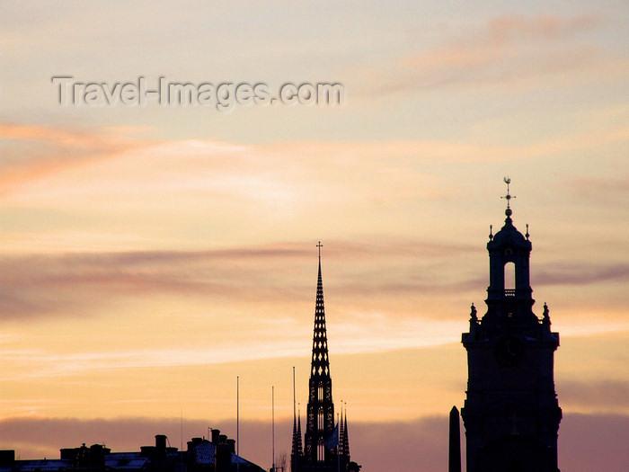 sweden121: Stockholm, Sweden: skyline, Store Kyrkan and Riddarholmskyrkan - photo by M.Bergsma - (c) Travel-Images.com - Stock Photography agency - Image Bank