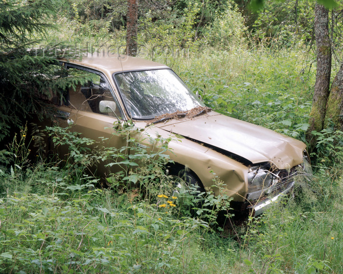 sweden132: Vastra Gotaland County, Sweden - derelict car in a field - photo by A.Bartel - (c) Travel-Images.com - Stock Photography agency - Image Bank