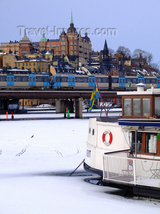 sweden158: Stockholm, Sweden: ice, boats, trains and houses - photo by M.Bergsma - (c) Travel-Images.com - Stock Photography agency - Image Bank