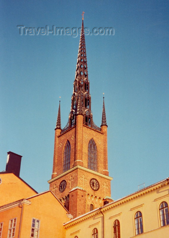 sweden27: Sweden - Stockholm: spire of the Riddarholmskyrkan, Church of Riddarholmen, is the burial church of the Swedish monarchy and the oldest building in Stockholm - Riddarholmen (photo by M.Torres) - (c) Travel-Images.com - Stock Photography agency - Image Bank