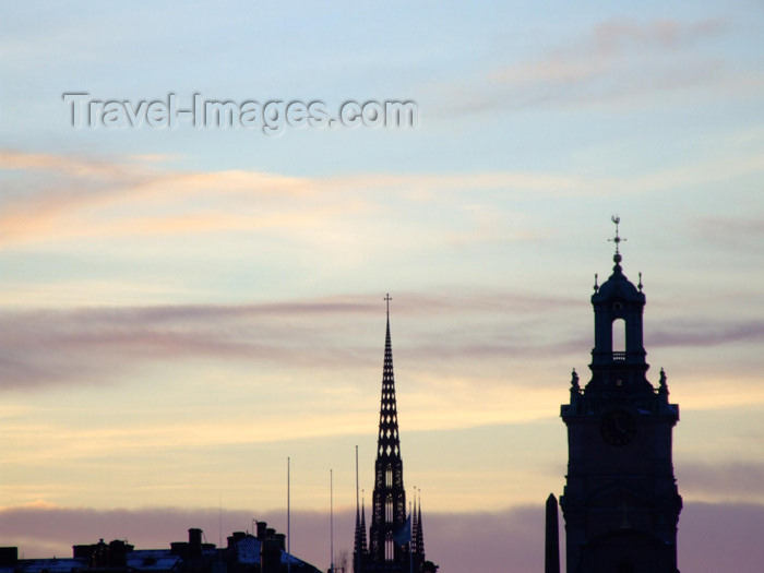 sweden68: Sweden - Stockholm: steeples at dusk - skyline, Store Kyrkan and Riddarholmskyrkan photo by M.Bergsma) - (c) Travel-Images.com - Stock Photography agency - Image Bank